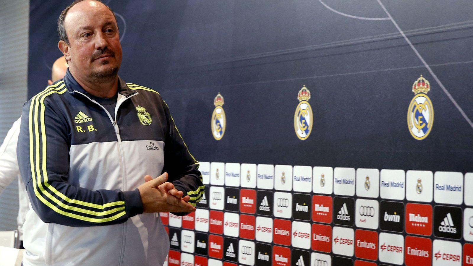 Foto: Rafa Benítez, entrenador del Real Madrid, en rueda de prensa (Efe).