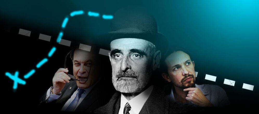 Foto: El político catalán Francesc Cambó en el centro de la imagen, a la derecha, Pablo Iglesias, a la izquierda, Artur Mas.