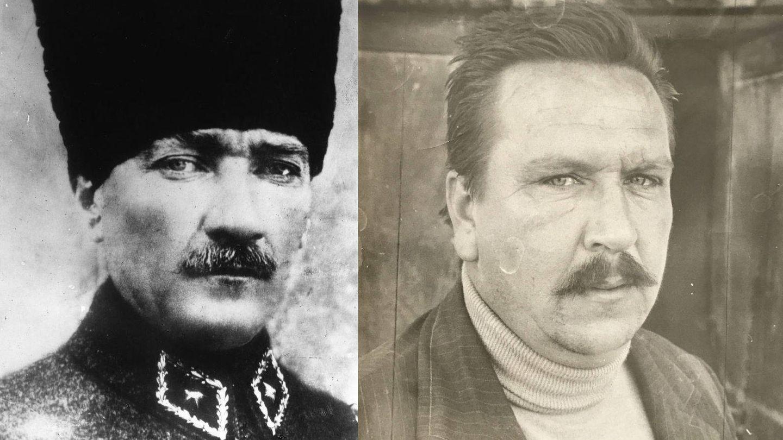 Mustafá Kemal Atatürk y su descendiente, Ahmet Mete, el abuelo de Agca Kuzulu y el miembro de la familia que mayor parecido conservó con su antecesor