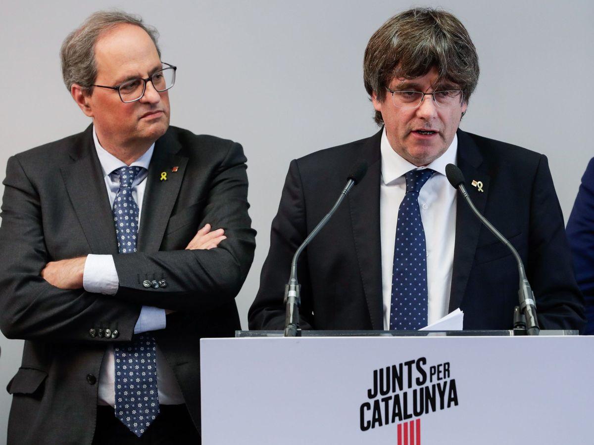 Foto: Quim Torra y Carles Puigdemont. EFE
