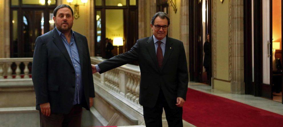 Foto: Artur Mas recibe a Oriol Junqueras hoy (Efe)