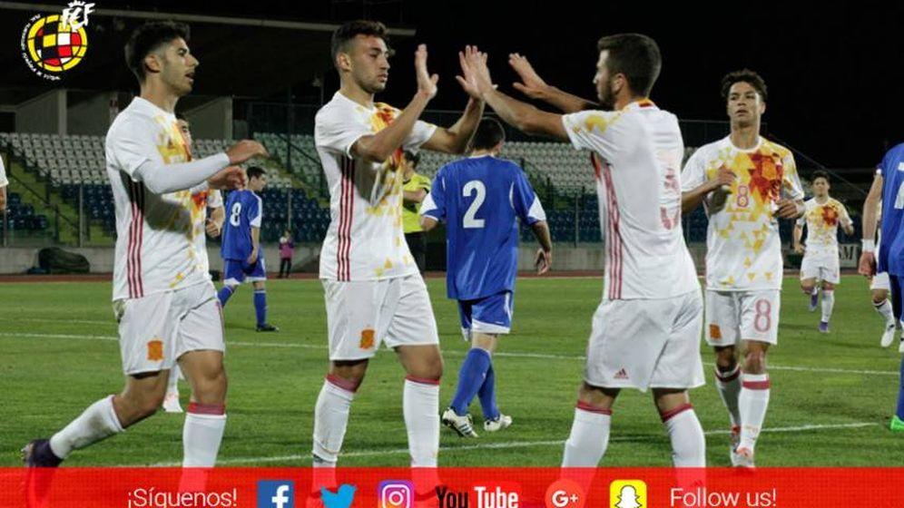 Foto: Los sub-21 celebran el gol de Munir (SEFutbol).