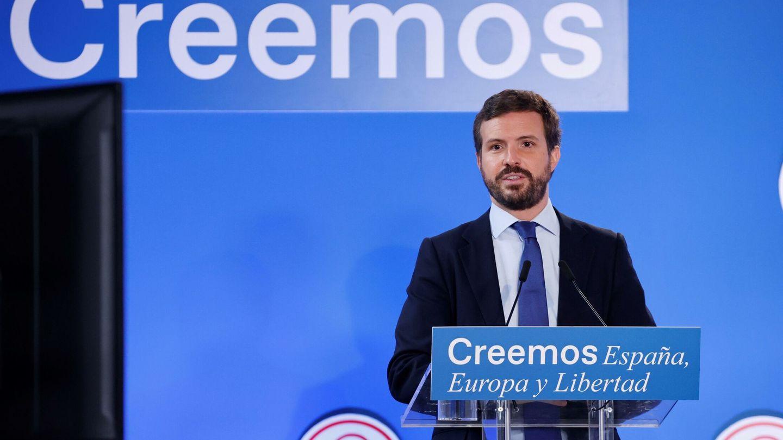 El líder del PP, Pablo Casado, interviene en la inauguración de las jornadas 'España, Europa y libertad', de los Cursos de Verano de El Escorial. (EFE)