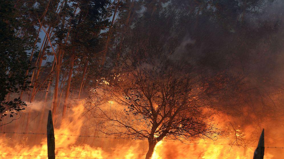Foto: Uno de los incendios forestales en los montes próximos a la localidad cántabra de Viérnoles.