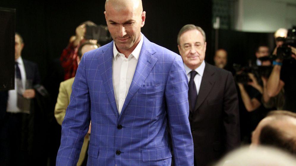 Foto: Florentino Pérez, en la presentación de Zidane como entrenador del Real Madrid (Efe).