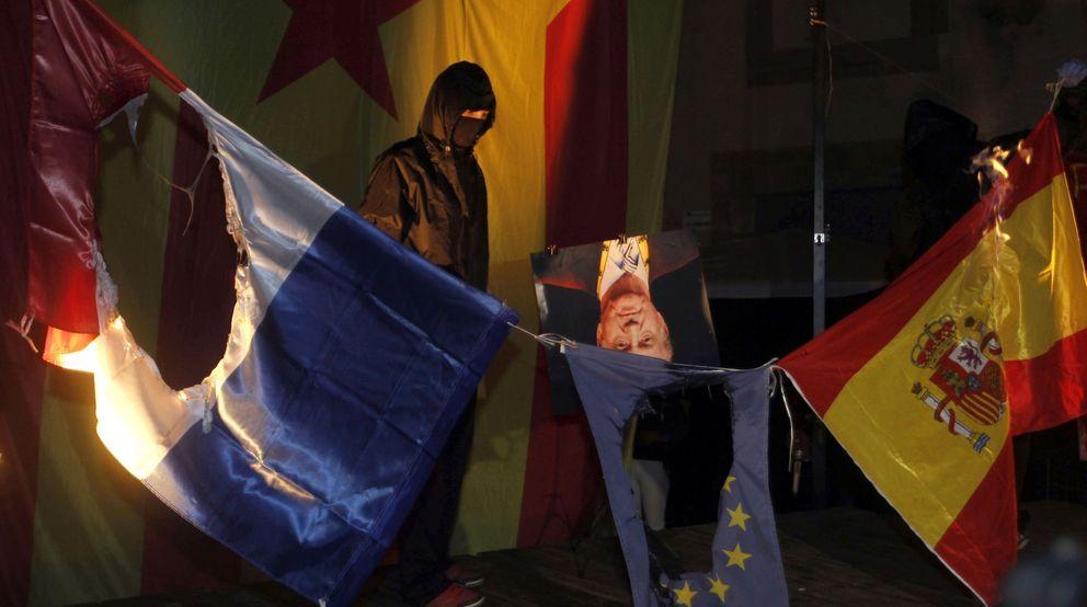Acto de la izquierda independentista al término de la manifestación de la Diada. (EFE)