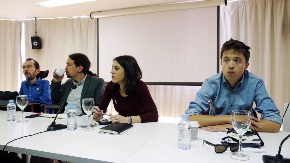 Foto: Los líderes de Podemos Pablo Iglesias (c), Pablo Echenique (i), Irene Montero e Íñigo Errejón. (EFE)