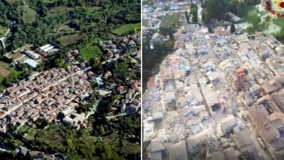 El antes y el después de Amatrice, uno de los pueblos más castigados por el terremoto