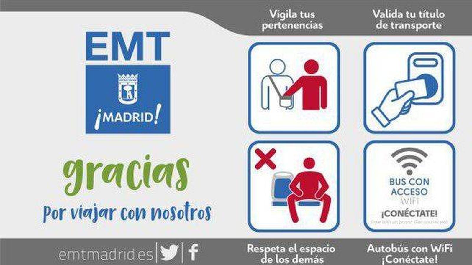 Foto: Carteles de la EMT contra el 'manspreading'.