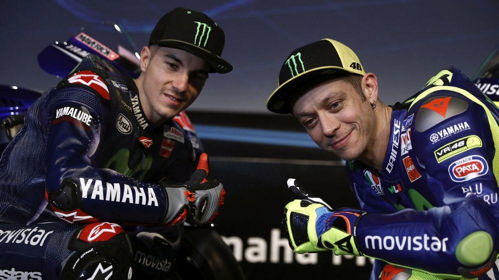 Foto: Viñales y Rossi en la presentación del Movistar Yamaha esta semana.