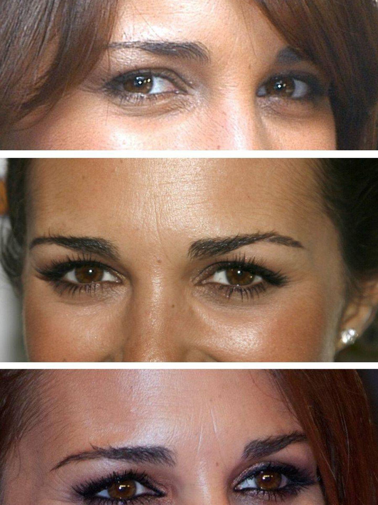 Las cejas de Paula Echevarría en 2007, 2009 y 2012. (Getty)