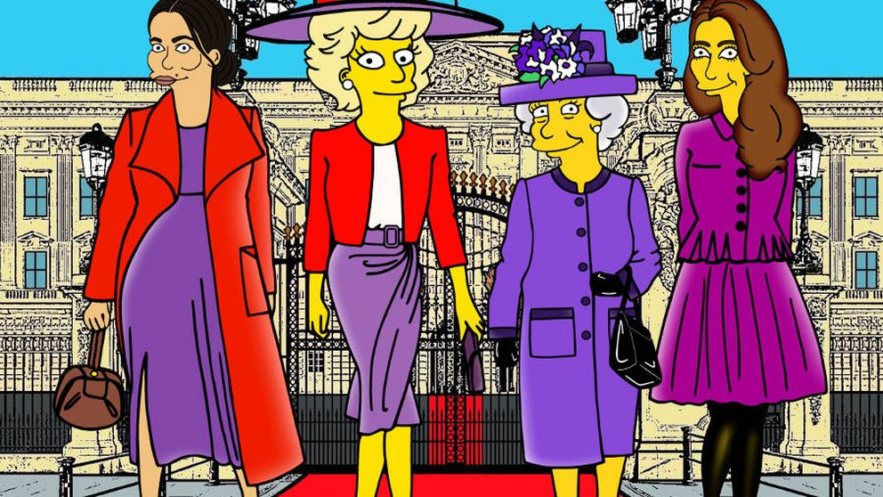 Los Simpson conquistan Windsor: Meghan, Kate, Isabel y Lady Di, en amarillo