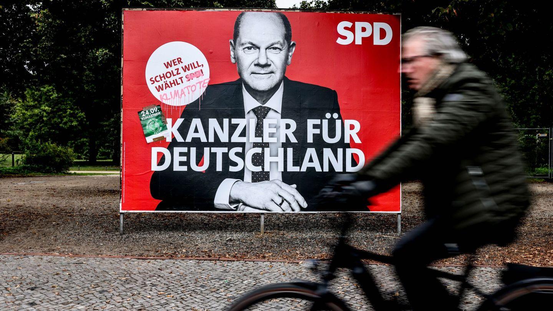 Cartel de campaña para la cancillería de Olaf Scholz. (EFE)
