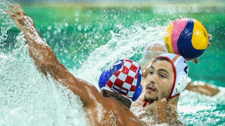 Lance del España-Croacia de waterpolo. (EFE)