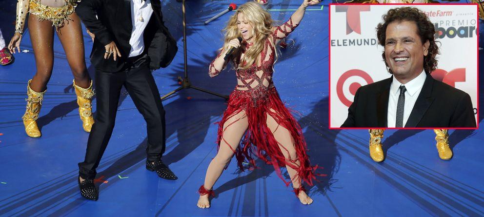 Foto: Shakira, el pasado 13 de julio en la final del Mundial de Brasil. En el recuadro, Carlos Vives (Gtres)