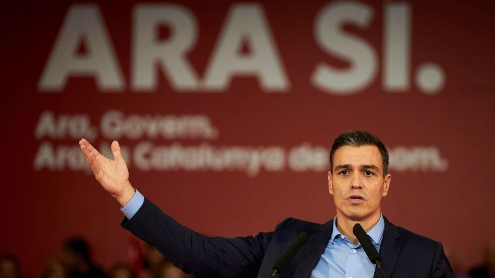 Foto: Pedro Sánchez, durante un acto preelectoral celebrado en Viladecans: (EFE)