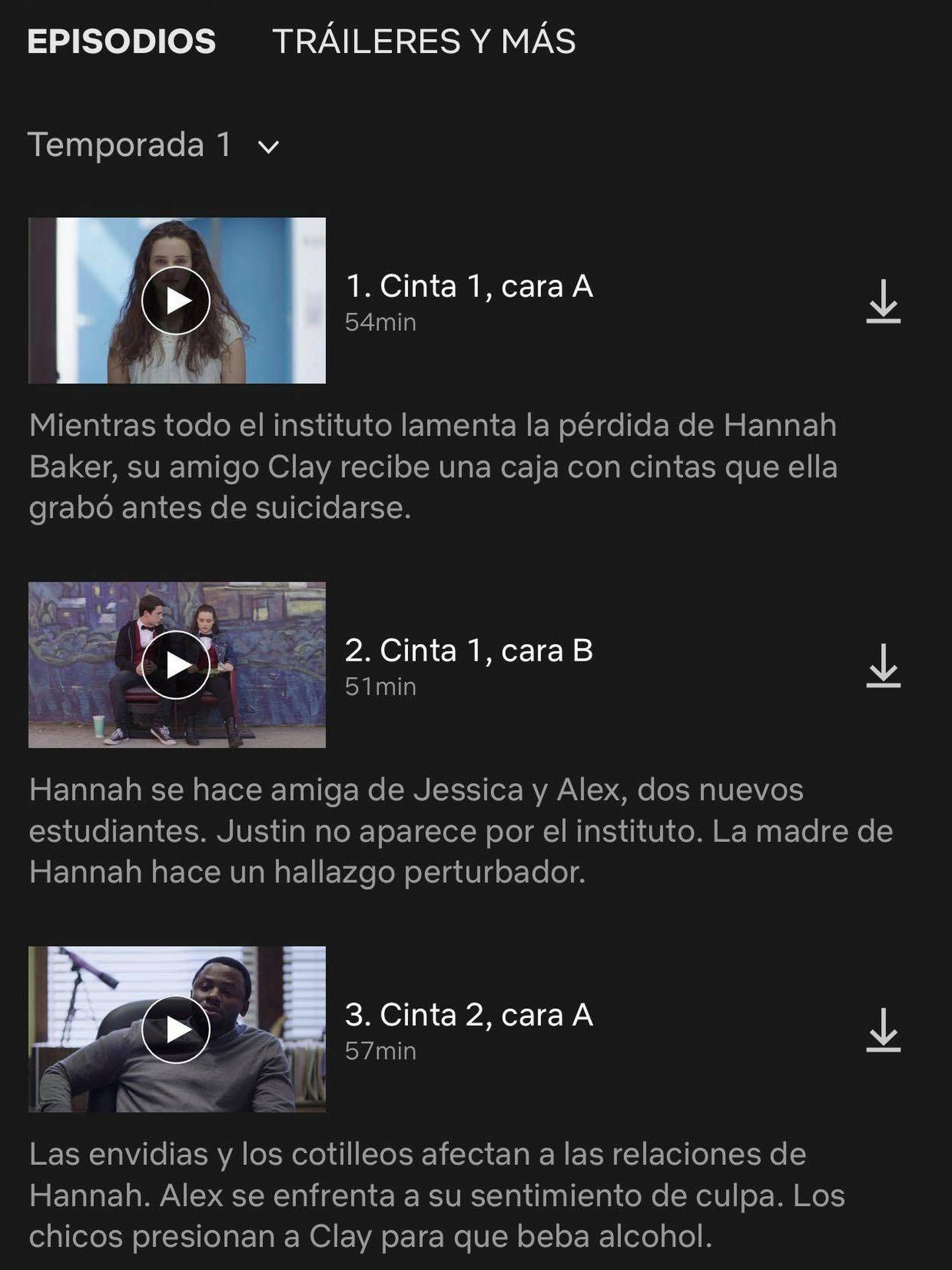 En Netflix puedes ir descargando los capitlos clicando sobre la flecha hacia abajo que aparece a la derecha