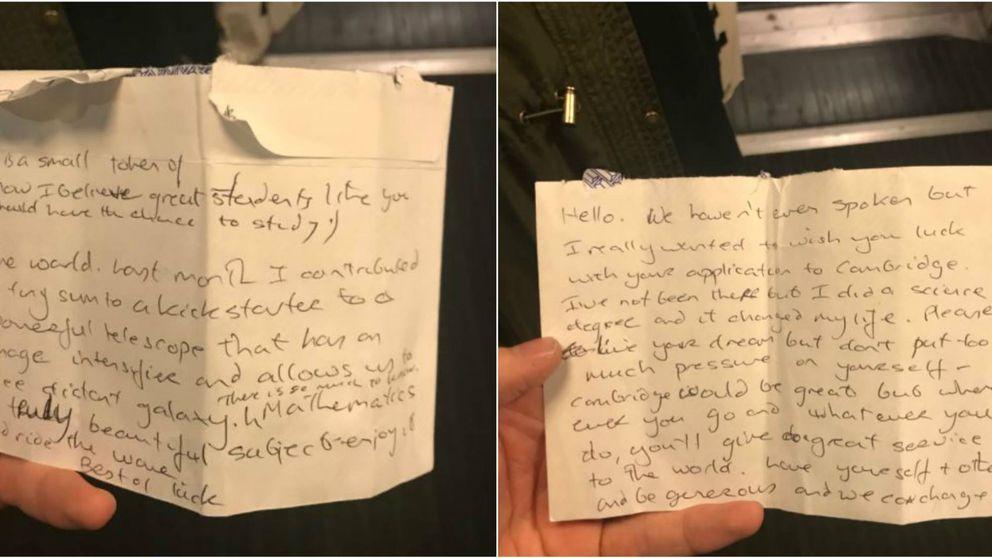 Habló en voz alta en el tren y un desconocido le dejó una nota