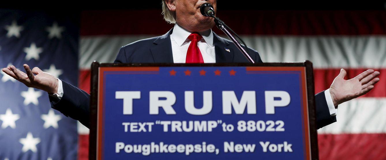 Foto: El candidato a la nominación republicana Donald Trump durante un acto de campaña en Poughkeepsie, Nueva York (Reuters).