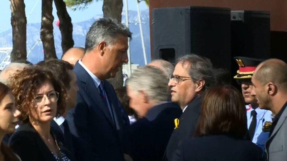 Foto: Captura de la discusión entre Albiol y Torra en pleno homenaje a las víctimas.