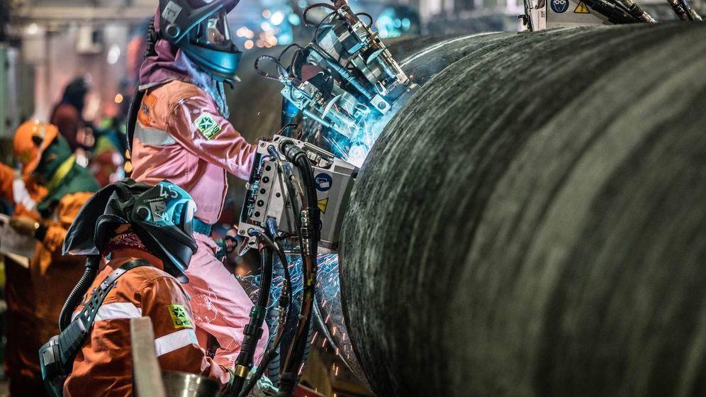Foto: Soldadura de piezas. (Nord Stream 2/Paul Langrock)