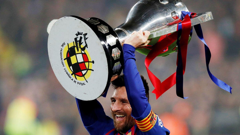 Messi celebra la Liga de 2019. (EFE)