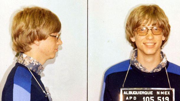 Foto: Ficha policial de Bill Gates en 1977.