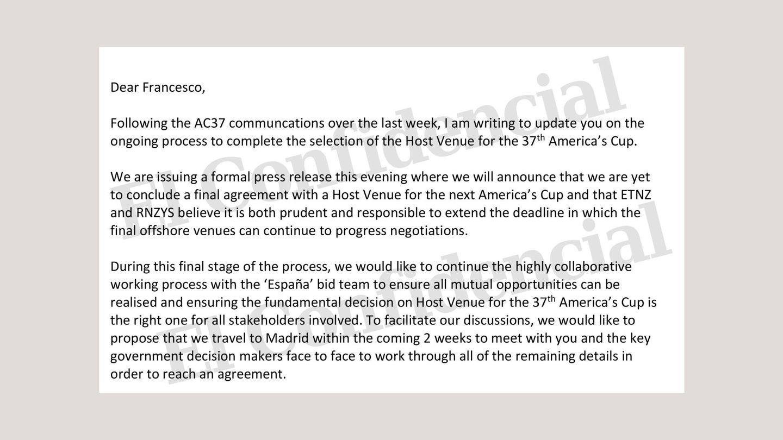 """Carta en que el CEO del New Zealand comunica que quiere viajar a Madrid para hablar """"cara a cara"""" con el Gobierno."""