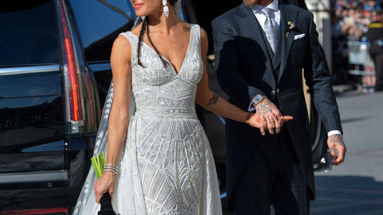 Sergio Ramos y Pilar Rubio durante su boda en Sevilla. (Getty)
