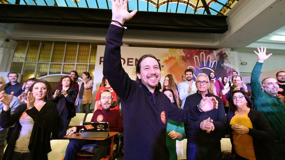 Foto: El secretario general de Podemos, Pablo Iglesias, durante el acto de presentación de su candidatura. (EFE)