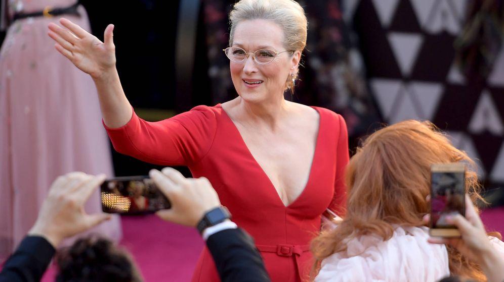 Foto: Meryl Streep, saludando en los Oscar. (Getty)