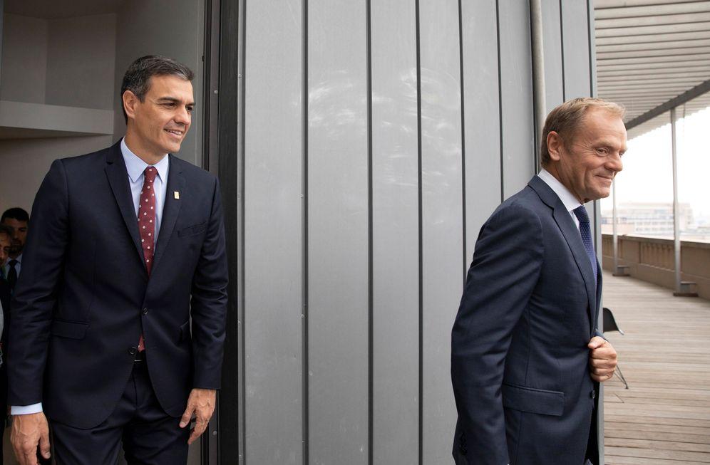 Foto: Pedro Sánchez, este 30 de junio, con el presidente del Consejo Europeo, Donald Tusk, en Bruselas. (Reuters)
