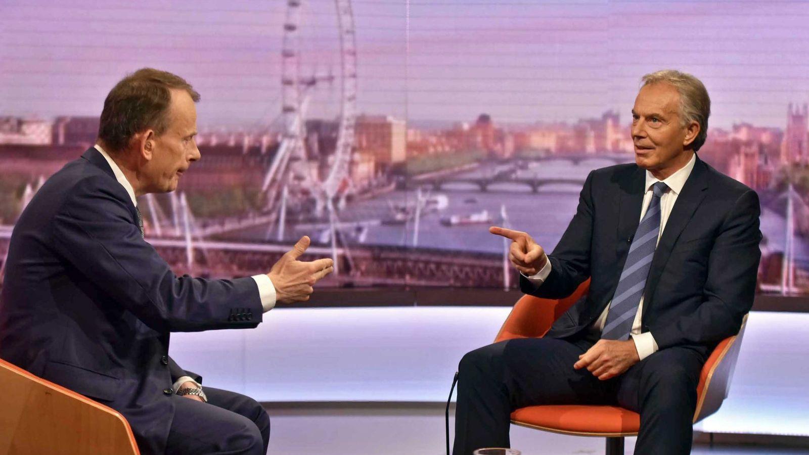 Foto: El ex primer ministro británico Tony Balir durante una entrevista en la BBC. (EFE)