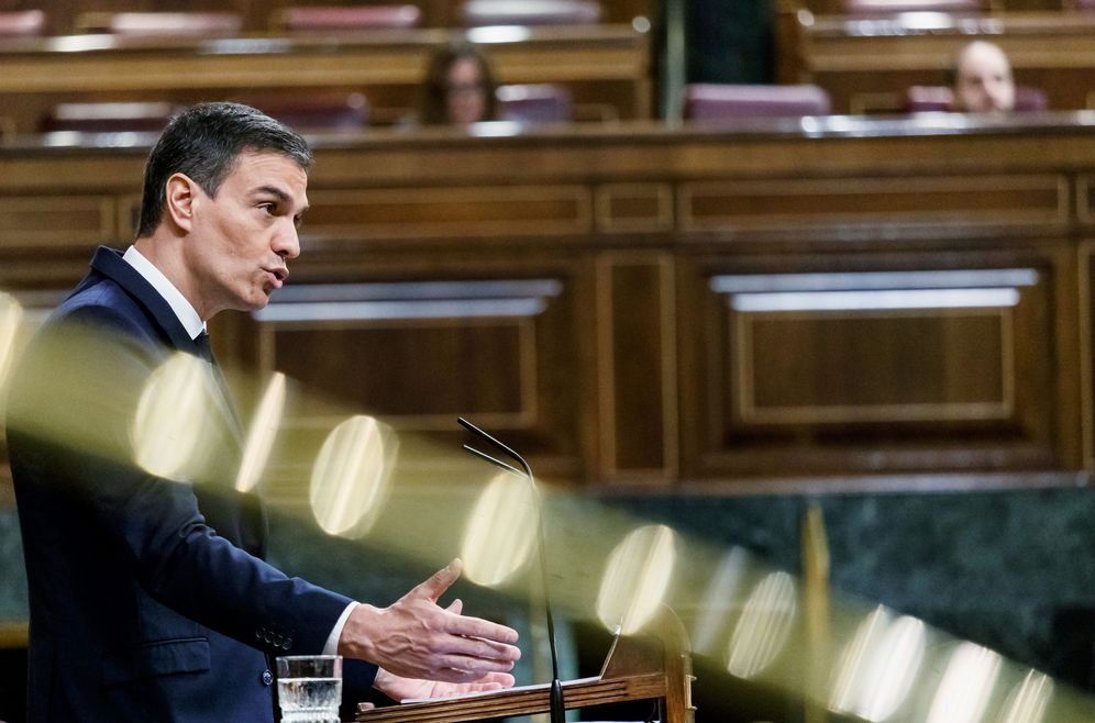 Foto: Pedro Sánchez, durante su intervención en el Congreso en el debate de la sexta prórroga del estado de alarma, este 3 de junio. (Reuters)