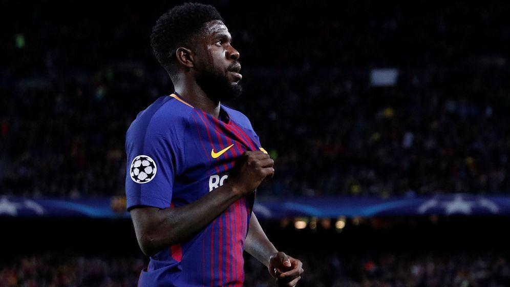Foto: Umtit, en un partido de la Champions con el Barcelona. (EFE)