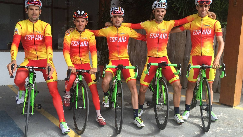 De izquierda a derecha: Castroviejo, Purito, Izaguirre, Valverde y Erviti (RFEC).