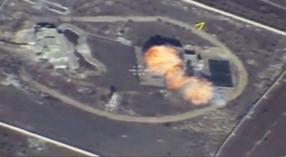 Foto: Captura de pantalla del video de un bombardeo de un dron ruso en un lugar no determinado de Siria, el 17 de noviembre de 2016 (Reuters)
