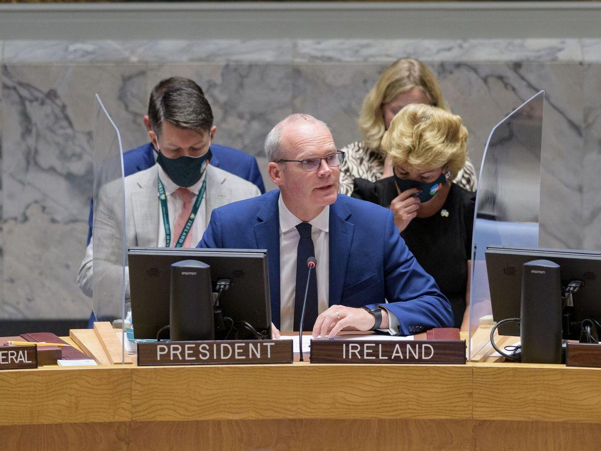 Foto: El presidente de turno del Consejo de Seguridad, Simon Coveney. (ONU)
