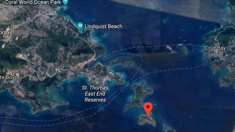 Ubicación de Little Saint James, al este de Saint Thomas. (Google Maps)