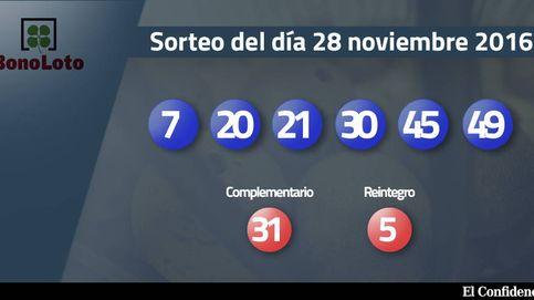 Resultados del sorteo de la Bonoloto del 28 noviembre 2016: números 7, 20, 21, 30, 45, 49