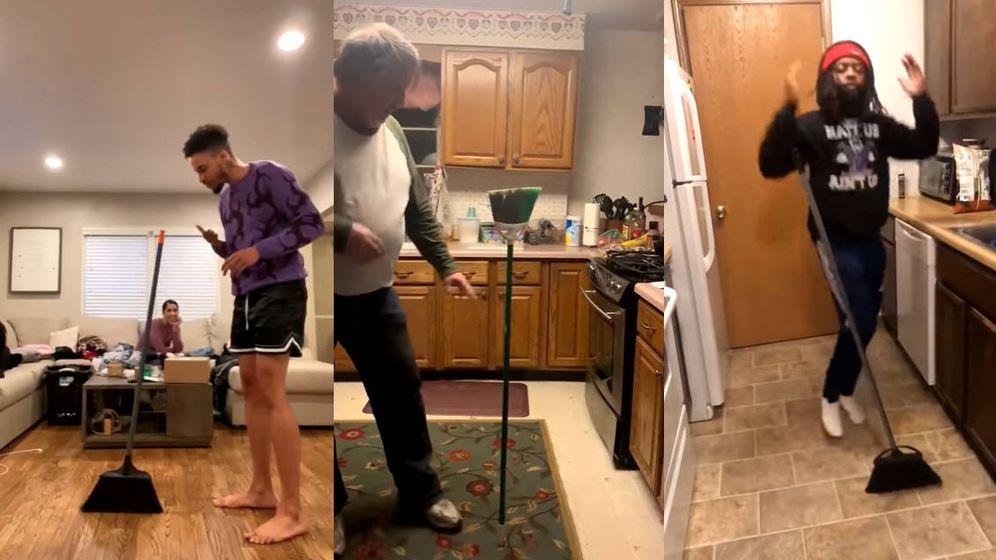 Foto: Internet se ha llenado de vídeos tratando de llevar a cabo el reto viral de la escoba (Foto: YouTube)