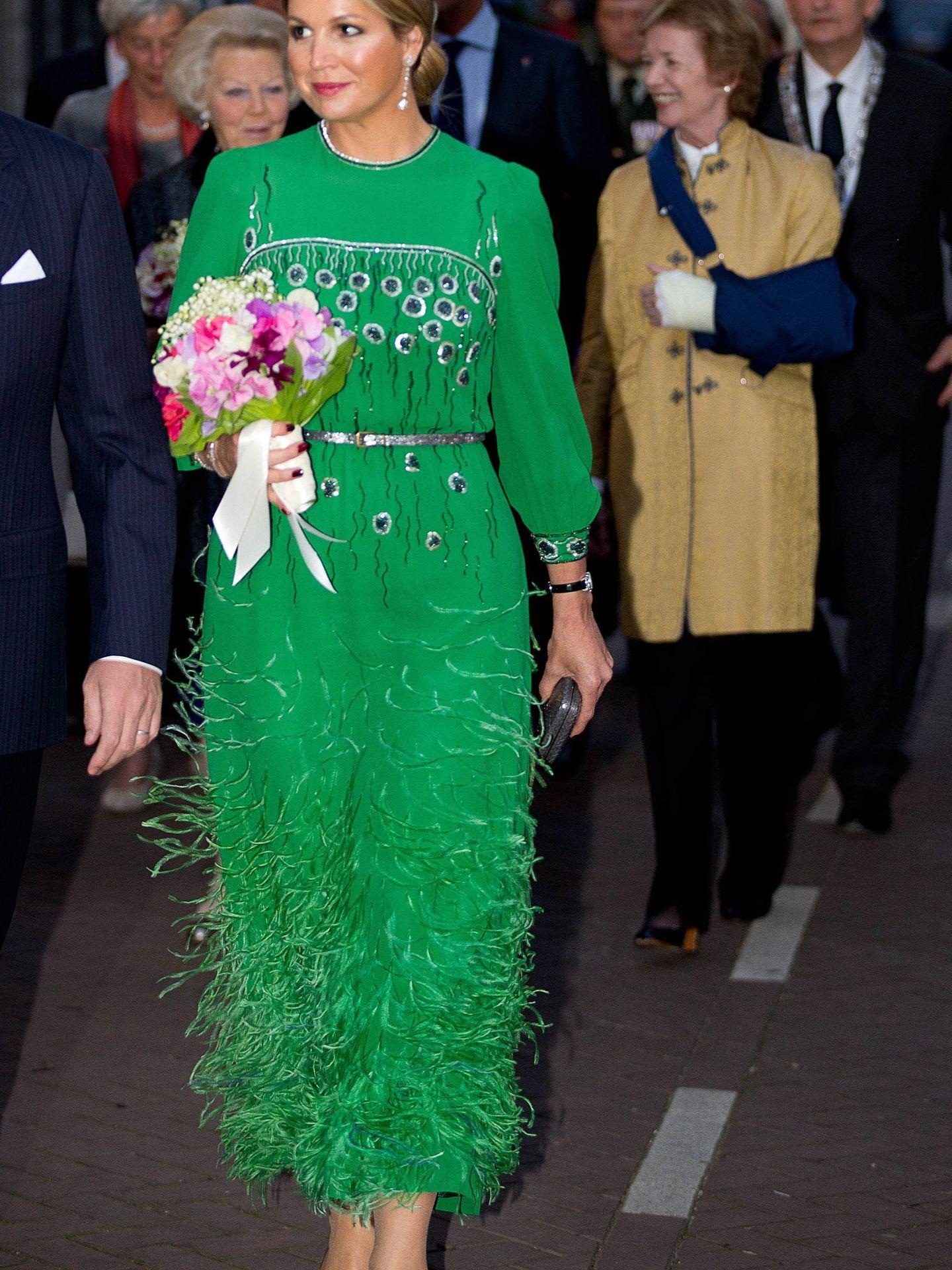 La reina Máxima en el Día de la Liberación de 2014, llevando un vestido de la reina Beatriz. (Cordon Press)