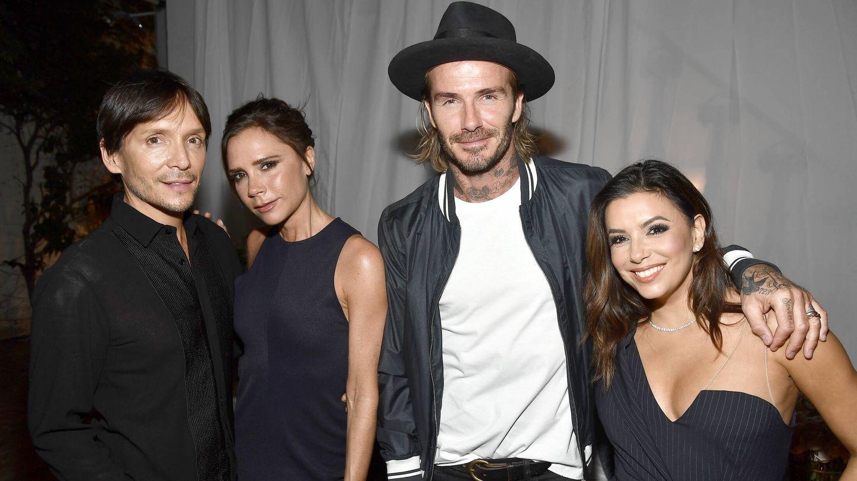 Eva Longoria y los Beckham, en una foto de archivo. (Getty)