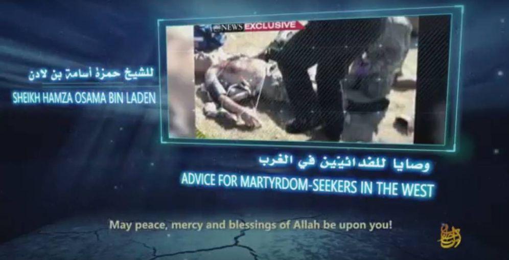 Foto: Captura de pantalla del video en el que Hamza Bin Laden aconseja a futuros mártires