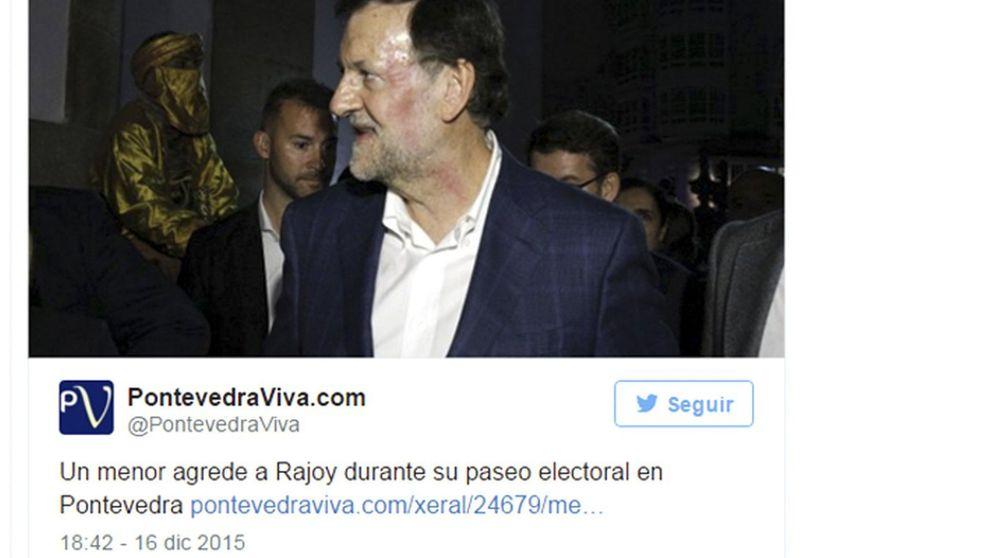 En imágenes: Mariano Rajoy antes y después de ser golpeado en Pontevedra