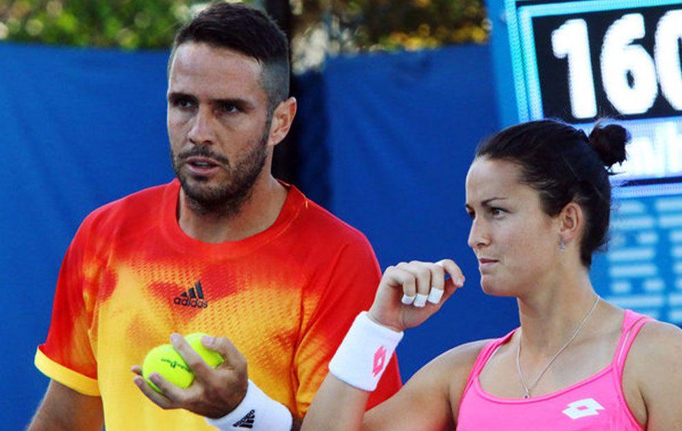 Foto: David Marreno y Lara Arruabarrena, en el partido frente a Lukas Kubot y Andrea Hlavackova (FOTO: NYT).