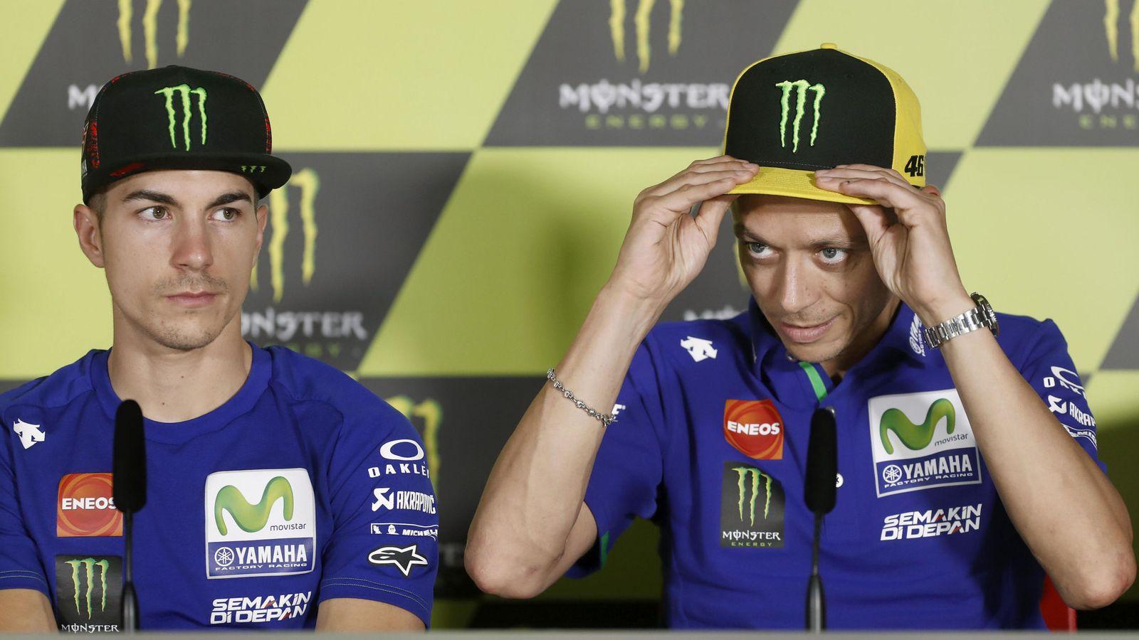 Foto: Viñales junto a Rossi en la rueda de prensa de Montmeló de este año. (EFE)