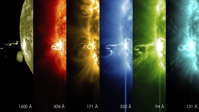 Erupción solar en varias frecuencias capturada por el SDO de la NASA