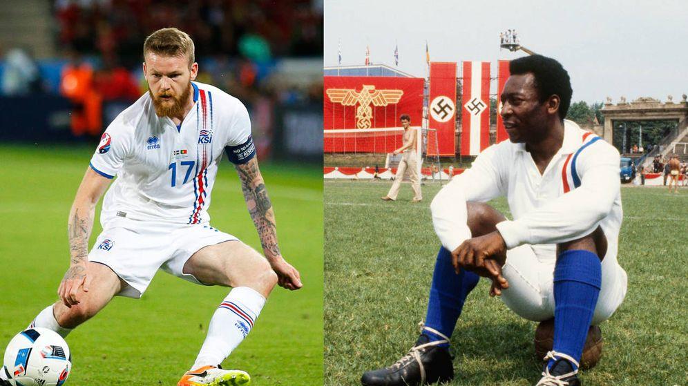 Foto: Islandia lució una camiseta inspirada en la que llevó Pelé, entre otros, en la mítica 'Evasión o victoria'. (Montaje: Enrique Villarino)