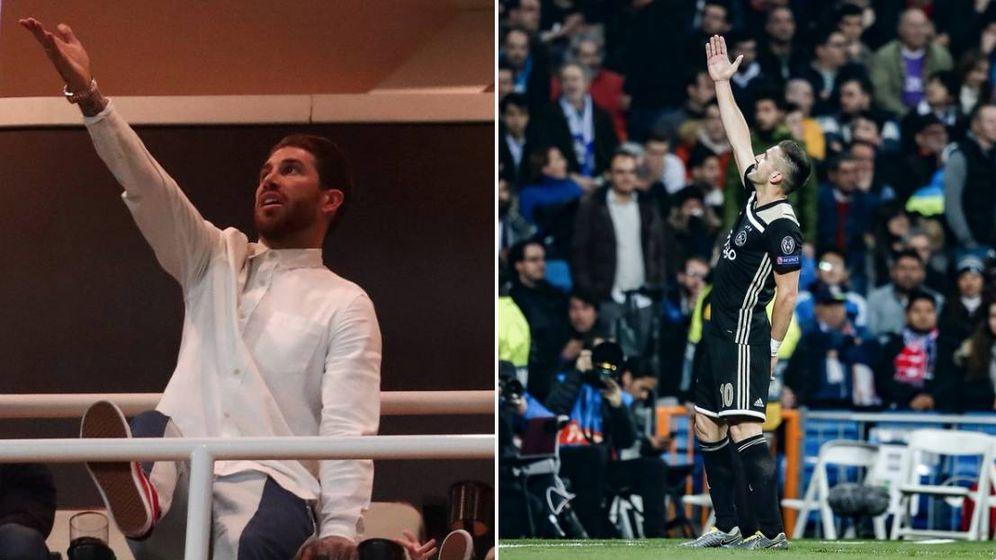 Foto: El montaje del Ajax en el que se mofa de Sergio Ramos. (twitter Ajax)